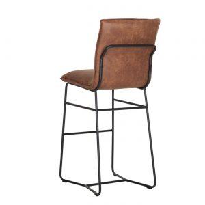 amandari barová stolička delaware, pohodlná barová stolička, barová stolička z recyklovanej kože, barová stolička s čiernymi kovovými nohami, kožená barová stolička, barová stolička s opierkou, dizajnová barová stolička do vinárne