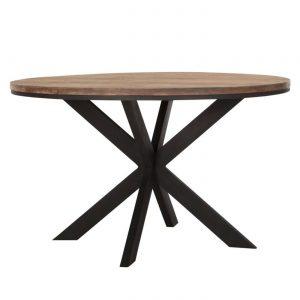 drevený jedálenský stôl, okrúhly stôl, drevený, masívny stôl, teakový stol, teakový stôl, masívna doska, tíkový stôl, stôl z recyklovaného teaku, jedálenský stôl s kovovými nožičkami, jedálenský stôl s kovovou podnožou, riadny masívny drevený stôl, moderný jedálenský stôl, jedálenský stôl do horského interiéru, stôl so stredovou nohou, dizajnový drevený stôl, stôl s kovovou stredovou podnožou
