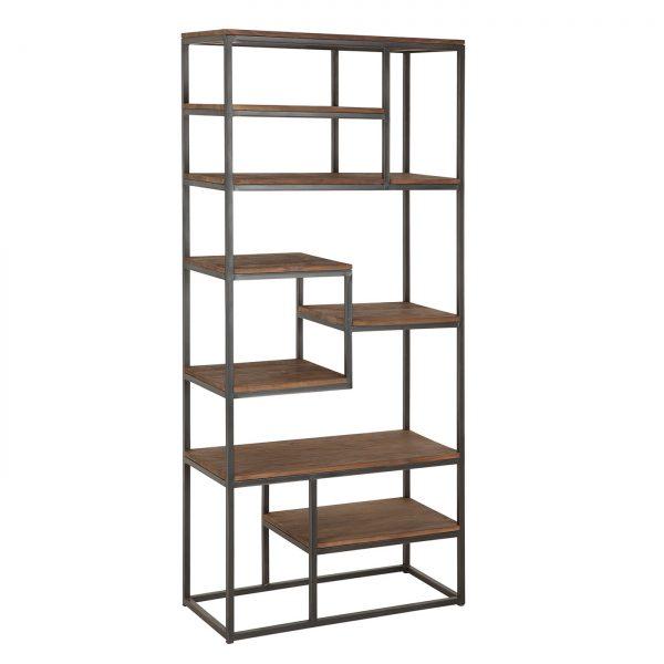 amandari knižnica fendy malá, teaková knižnica, tíková knižnica, otvorená knižnica, moderná knižnica, orientálna knižnica, nepravidelná knižnica, drevená knižnica, voľne stojaca knižnica, amandari knižnica, knižnica bez dvierok, knižnica z recyklovaného dreva a kovu
