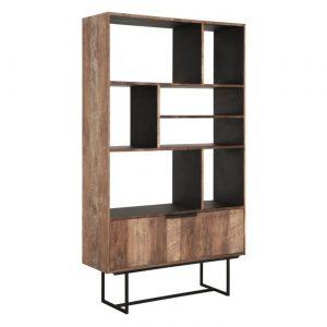 amandari knižnica odeon, teaková knižnica, tíková knižnica, otvorená knižnica, moderná knižnica, nepravidelná knižnica, drevená knižnica, voľne stojaca knižnica, amandari knižnica, knižnica so zásuvkami, knižnica z recyklovaného dreva a kovu