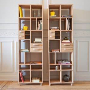 amandari knižnica pirouette dub, knižnica do pracovne, masívna drevená knižnica knižnica z masívu, policová zostava z masívu, ethnicraft knižnica, dubová knižnica, otvorená knižnica, moderná knižnica, nepravidelná knižnica, drevená knižnica, voľne stojaca knižnica, knižnica so zásuvkami