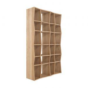 amandari knižnica z rack dub, masívna drevená knižnica knižnica z masívu, policová zostava z masívu, ethnicraft knižnica, dubová knižnica, otvorená knižnica, moderná knižnica, nepravidelná knižnica, drevená knižnica, voľne stojaca knižnica, knižnica bez dvierok