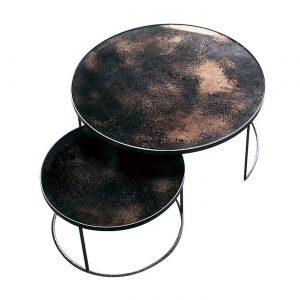amandari konferenčný stolík cooper nesting, stolík ethnicraft, set okrúhlych príručných konferenčných stolíkov so zrkadlovým vzhľadom, stolíky s patinovaným zrkadlovým efektom, konferečné stolíky, konferečný stolík s kovovou podnožou, nadčasový stolík, set stolíkov so zasúvaním, set dvoch veľkostí stolíkov