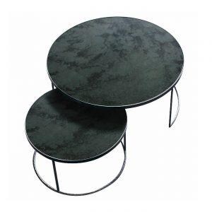 amandari konferenčný stolík charcoal nesting, stolík ethnicraft, set okrúhlych príručných konferenčných stolíkov so zrkadlovým vzhľadom, stolíky s patinovaným zrkadlovým efektom, konferečné stolíky, konferečný stolík s kovovou podnožou, nadčasový stolík, set stolíkov so zasúvaním, set dvoch veľkostí stolíkov