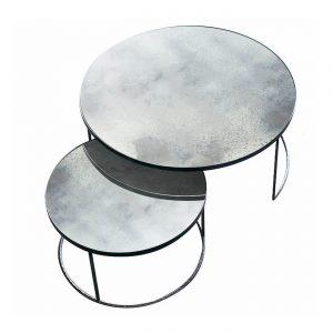 amandari konferenčný stolík clear nesting, set okrúhlych príručných konferenčných stolíkov so zrkadlovým vzhľadom, stolíky s patinovaným zrkadlovým efektom, konferečné stolíky, konferečný stolík s kovovou podnožou, nadčasový stolík, set stolíkov so zasúvaním, set dvoch veľkostí stolíkov