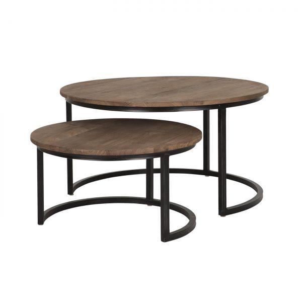 amandari konferenčný stolík fendy, set okrúhlych príručných drevených stolíkov so zasunutím, konferenčný stolík, teakový konferenčný stolík, masívny drevený konferečný stolík, stolík s masívnou drevenou doskou, drevený stolík so železnými nohami, stôl z recyklovaného teaku, nábytok s príbehom, moderný teakový stolík