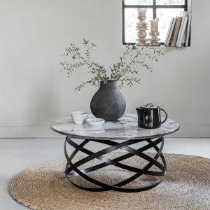 amandari konferenčný stolík sceptre, okrúhly príručný mramorový stolík, konferenčný stolík, konferečný stolík s kovovou podnožou, so zaujímavými železnými nohami, nadčasový stolík