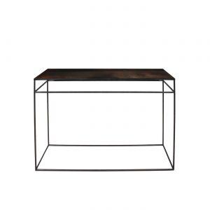 amandari konzolový stôl copper leaf, konzola ethnicraft, konzola s efektom starých zrkadiel, sklenená konzola nadčasová konzola, úzka konzola, stolík do predsiene, úzky stolík, odkladací stolík, stolík s kovovou podnožou, subtílny stolík, sklenený stolík bronzový