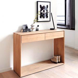 amandari konzolový stolík nordic, konzola ethnicraft, úzky stolík do predsiene so zásuvkami, obdĺžnikový drevený stolík, úzka konzola, nábytok do predsiene, masívny drevený stolík, stolík s masívnou drevenou doskou, udržateľný nábytok, moderný dubový stolík, moderný štýl, dub, nadčasová konzola