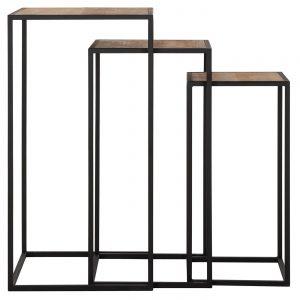 amandari príručný stolík columns, set príručných stolíkov, zasúvacie stolíky, stolík must living, hnedý drevený stolík s kovovou podnožou, stolík na umelecké dielo, bočný stolík, podstavec, stolík na kvety, stolík na vázu, stolík na sochu, príručný stolík, teakový konferenčný stolík, stolíky, piedestál, stôl z recyklovaného teaku a kovu, set troch stolíkov, nábytok s príbehom, moderný teakový stolík