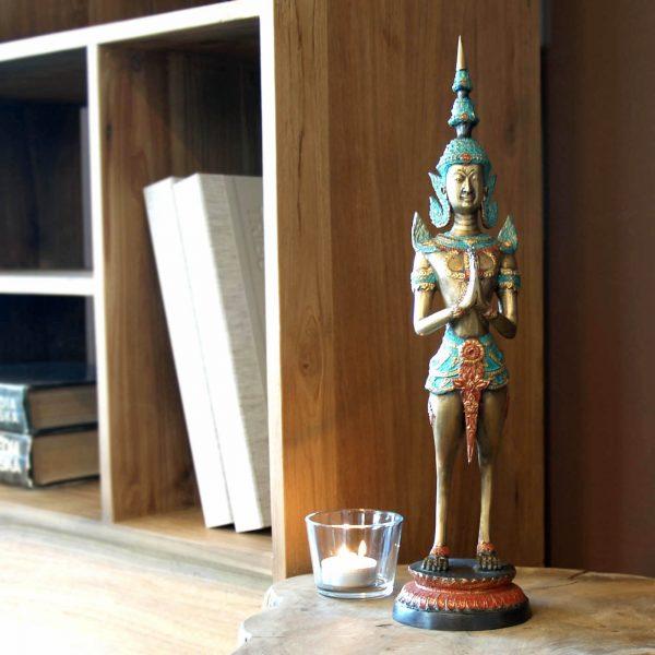 dekorácia, soška, socha, mosadz, ázijský, orientálny, socha na podstavci, darček, tip na darček, socha do výklenku, unikátny, doplnok, východoázijský, patinovaný, žena vták, chrámová socha