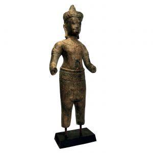 dekorácia, soška, socha, mosadz, ázijský, orientálny, socha na podstavci, darček, tip na darček, socha do výklenku, unikátny, doplnok, východoázijský, patinovaný, kambodžská socha, kambodžský, chrámová socha, socha bez rúk