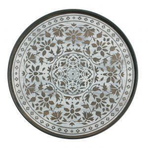 amandari tacka white marrakesh ethnicraft, kávová tácka, dizajnové tácky, tácka, dekorácie, dekorácia, darček, tip na darček, unikátny darček, servírovanie, podnosy, štýlové servírovanie, tácka ako obraz, ručne vyrábané tácky, drevené tácky, okrúhle tácky, set tácok, nástenná dekorácia, tácka ako stolík, etno