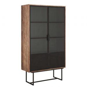 amandari vitrína odeon, moderná vitrína, príborník, komoda na riady, teaková vitrína, drevená vitrína s ratanovými dvierkami, drevená vitrína, vitrína s poličkami